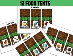 Minecraft Food Tent Cards, Minecraft Decoration, Party Favors, Food Labels - Minecraft Party Instant Download on Etsy, $5.00