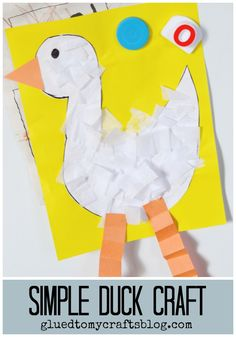 Simple Duck Kid Craft - just draw a duck body shape on some white cardstock, trim out and add white tissue paper on top! Find more kid friendly ideas on Glued To My Crafts Pond Crafts, Duck Crafts, Farm Crafts, Summer Crafts For Toddlers, Animal Crafts For Kids, Toddler Crafts, Preschool Art Projects, Preschool Activities, Tractor Crafts