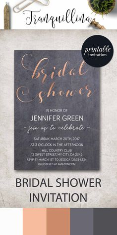 Copper Bridal Shower Invitation Printable, Modern Bridal Shower Invitation, Rose Gold Bridal Shower Invitations, Printable Bridal Shower Party Invites. tranquillina.etsy.com