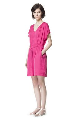 DRESS WITH GATHERED SHOULDERS - Dresses - Woman | ZARA Netherlands