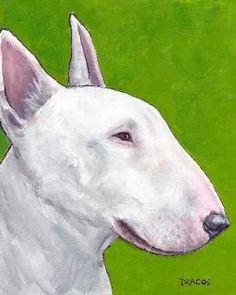 English Bull Terrier Dog Art Original Painting Dottie Dracos on Green | LarkStudios - Painting on ArtFire