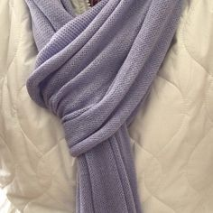 Pretty lavender scarf Lavender soft knit scarf. Rolled edges, and surged at the ends. Maybe worn once. 100% cotton. When u need a scarf but not something bulky! Bkg & company Accessories Scarves & Wraps