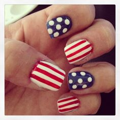 Simple Patriotic Nail Art Design using a white base with red stripes and blue base with white dots... By Ashley Arca