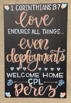 Military Homecoming Sign / Chalkboard /. Deployment / Air Force Marines / Navy / Army / to order please email Charlestonchalkchick@gmail.com or visit and message www.facebook.com/charlestonchalkchick Military Welcome Home, Military Love, Military Couples, Deployment Quotes, Deployment Gifts, Welcome Home Banners, Welcome Home Signs, Homecoming Decorations, Homecoming Ideas