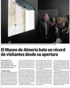 """""""El Museo de Almería bate un récord de visitantes desde su apertura al público"""".  Fuente: Ideal Almería (6.01.16)"""