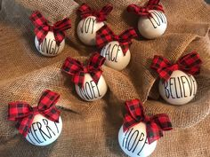 Buffalo plaid ornaments using names instead