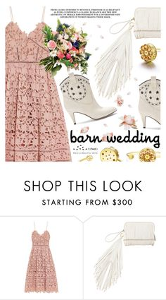 """""""Best Dressed Guest: Barn Weddings"""" by totwoo ❤ liked on Polyvore featuring self-portrait, The Volon, Marc Jacobs, bestdressedguest and barnwedding"""