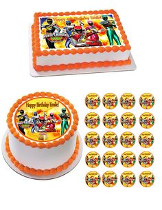 Power Ranger Dino Charge Edible Birthday Cake Topper OR Cupcake Topper, Decor