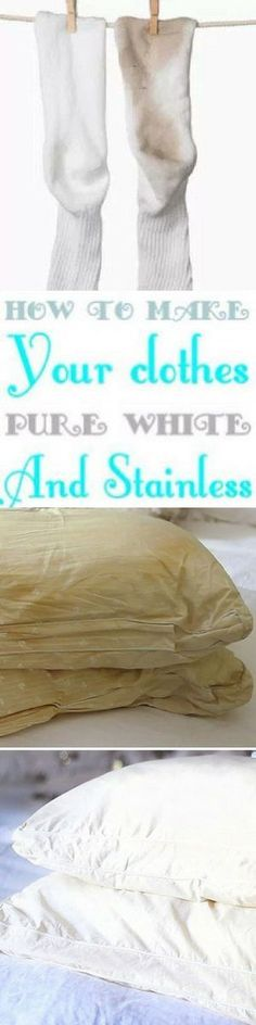 Here's how to whiten clothes without bleach. Laundry just got so much easier. Make sure your white t-shirts, pillows, and socks are the brightest white they can be with these nifty hacks. You can even use items that you already have in your home (like vinegar and lemon juice) to get the whitest whites! #laundry #laundrytips #
