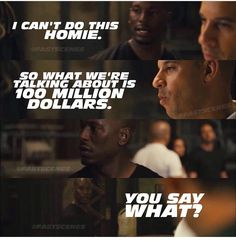 """""""See, sometimes I be over thinking, man."""" Roman Pearce & Dominic Toretto - Fast Five Fast And Furious Memes, Movie Fast And Furious, Fast & Furious 5, Furious Movie, The Furious, Vin Diesel, Dom And Letty, Dominic Toretto, Fast Five"""