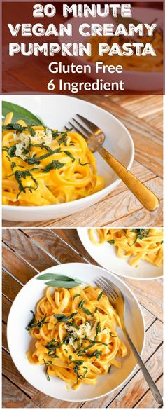 Need dinner on the table quickly? Make this 20 minute 6 ingredient vegan creamy pumpkin pasta. Can be made with butternut squash instead! Healthy, simple and delicious.