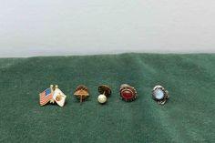 Vintage 5 Lot Tie Tack, Gold Tone Color,With Stones,Umbrella,Flags by Incredibletreasures on Etsy