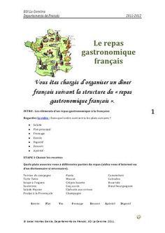 Le repas gastronomique français  Séquence didactique sur le repas traditionnel français, les courses et les mets habituels.