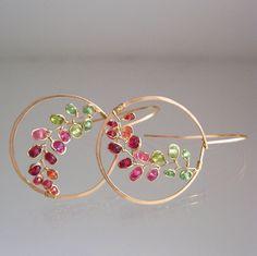 Colorful Gemstone Hoops Pink Sapphire Gold Hoops by bellajewelsII