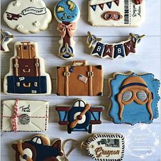 Baby Shower Cookies Adventure Ideas For 2019 Baby Cookies, Baby Shower Cookies, Cute Cookies, Sugar Cookies, Baby Shower Themes, Baby Boy Shower, Airplane Baby Shower, Airplane Party, Aviation Theme