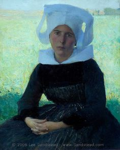"""Dagnan-Bouveret, """"Woman in Breton Costume Seated in a Meadow"""", 1887 by deflam, via Flickr"""