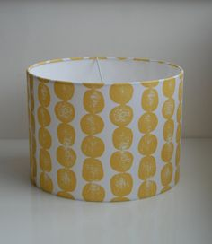 Mid Century Modern Scandi Style Lampshade-handmade 30cm Drum-Lotta Jansdotter Mormor Bergen in Yarrow/Mustard/Yellow