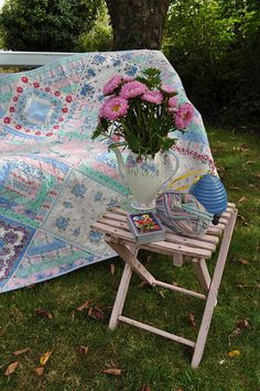 Vintage-style handkerchief Quilt -- I'm not sure I have enough of Grandma's handkerchiefs to do this but it might be better anyway to do a smaller wall hanging; handkerchiefs are delicate. Maybe it would even be best framed.