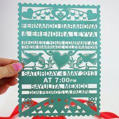 Papel Picado Lasercut Wedding Invitation on Etsy, $9.73 AUD