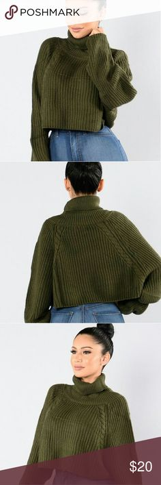 Cropped Sweater. Olive, Oversized,  Thick & Warm. Email me at LJrose213@gmail.com for any questions or inquiries <3. Tops Crop Tops