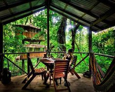 """Inside the rain forests of Costa Rica, there's an entire """"neighborhood"""" of tree houses... a full community complete with a cafe, community center, and, oh yeah: a network of zip lines, which residents use to move among the tree top properties"""
