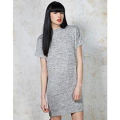 Ark Dobby High Neck Dress - greymarl tshirt, oversized dress