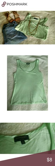 Banana Republic Light Seafoam Green Tank Top Banana Republic Light Seafoam Green Tank Top. LIKE NEW. Size Medium, fits a small or medium. Falls at the hips. Only worn once. No stains rips or tears. It has a ribbon/silk lining around the neck. It is great for a business casual look, or simply perfect with a pair of jeans and wedges. Please let me know if you have any questions :)! Banana Republic Tops Tank Tops