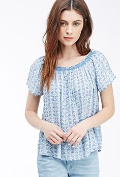 Smocked Ikat Peasant Top   Forever 21 - 2000096740