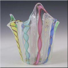 Murano Glass Zanfirico Fazzoletto Handkerchief Vase - £40.00