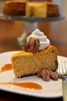 pumpkin cheesecake with cinnamon whipped cream.