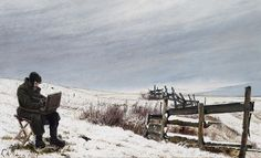 Laurits Andersen Ring (1854-1933): The winter painter. Snow landscape with the painter Aage Bertelsen at his work, 1905