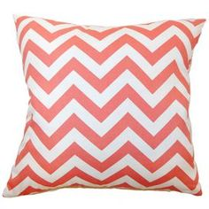 """Effortlessly refresh your den, dining room, or master suite décor with this eye-catching design, showcasing an au courant motif and chic palette.  Product: PillowConstruction Material: Cotton cover and 95/5 down fillColor: Coral and whiteFeatures:  Insert includedHidden zipper closureMade in the USA  Dimensions: 18"""" x 18""""Cleaning and Care: Spot clean"""