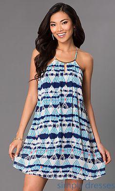 f9eeda6bd148 Short Sleeveless Print Shift Dress by As U Wish at SimplyDresses.com  Homecoming Dresses Under