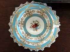Royal Grafton Teacup, Wide Mouthed, Turquoise Banding, Vintage Cup and Saucer 13229