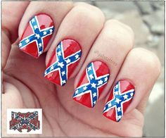 Since the end of the American Civil War, personal and official use of Confederate flags, and of flags derived from these, has continued under some controversy. Camo Nails, Red Nails, Hair And Nails, Gorgeous Nails, Love Nails, Pretty Nails, Amazing Nails, Fingernail Designs, Toe Nail Designs