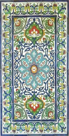Hand-crafted, Persian-inspired ceramic tiles create a mosaic rug from Tunisia. click now for info. Ceramic Mosaic Tile, Ceramic Wall Art, Tile Art, Turkish Tiles, Turkish Art, Islamic Tiles, Islamic Art, Islamic Patterns, Tile Patterns