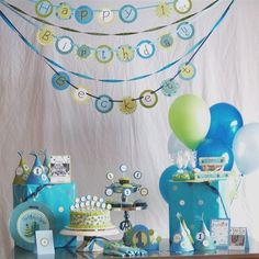 Candy Bar Set Up For Baby Snoopy Shower Idea #1 Lighter Colors And Yellow  Added