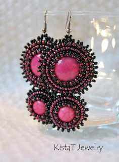 Bead embroidered earrings black and pink earrings by KistaTJewelry,