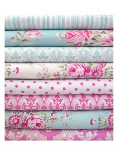 Shabby Chic fabrics - LOVE!  I would love nursery bedding like this if I ever planned to have a baby (a baby girl, that is).
