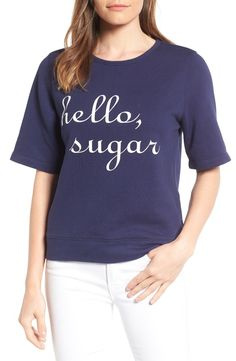 A slogan sweatshirt with a Southern twist. This flirty short-sleeve top is ultimate weekend vibes.