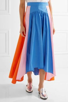 Bright-blue, baby-pink and bright-orange cotton-poplin Concealed zip fastening along back 100% cotton Dry clean