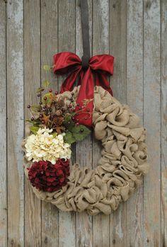 Christmas Burlap Wreath Christmas Hydrangea by WhimsyChicDesigns