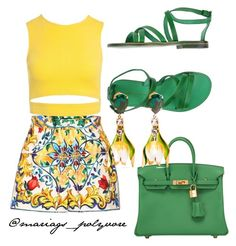 """""""yellow & green"""" by merypinkmermaid ❤ liked on Polyvore featuring Dolce&Gabbana, Sans Souci, L'Artigiano del Cuoio and Hermès"""