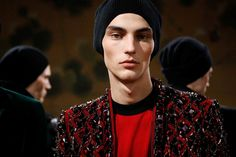 Backstage Balmain AW15 red gems model paris jacket beanie