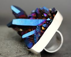Cobalt Aura Quartz Crystal RingLarge Size Specimen by Specimental, $205.00
