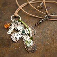 Rustic Copper Cross Necklace with an Aventurine Stone- MIxed Metal Jewelry - Etched Copper and Sterling Cross Pendant