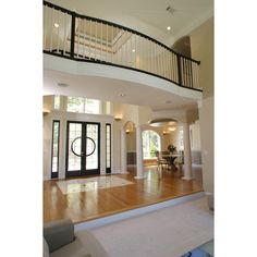 View of Foyer and Dining room of LAURIE house plan featured on Fine... ❤ liked on Polyvore featuring house, rooms, foyer, homes and photos