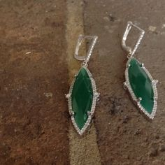 Natural Green Chalcedony in Solid 925 Natural Green Chalcedony Marquise white Topaz in Guarantee 925 Solid Silver Dangle Earrings . Jewelry