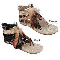 Carrini Women's Feather Gladiator Sandals | Overstock.com