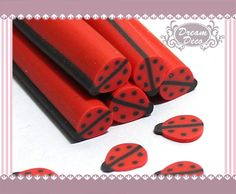 Lovely Ladybug Animal Polymer Clay Cane / Fimo Cane di DreamDeco